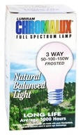 Chromalux 3 Way 50-100-150W Frosted Light Bulb Full Spectrum Lamp