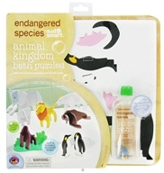 Endangered Species Animal Kingdom Bath Puzzles Set with 4 oz. Bubble Bath