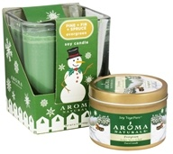 Evergreen Holiday Set Soy Vegepure Square Glass and Small Tin Eco-Candles