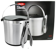 SteeL 3 Piece Ice Bucket & Tong Set - 4 Quart Capacity