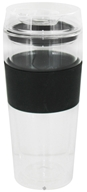 Double Wall Glass Tumbler and Lid with Black Silicone Grip