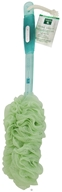 Feng Shui Mesh Body Brush with Ergonomic Grip Handle Green/Wood