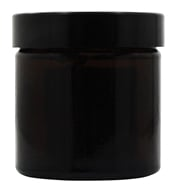 Amber Glass Cream Jar with Black Screw On Lid