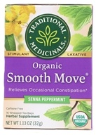 Traditional Medicinals - Smooth Move Herbal Tea Stimulant Laxative Caffeine Free with Senna Peppermint - 16 Tea Bags