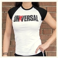 Universal Ladies White/Black Baby Tee