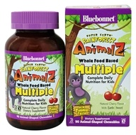 Bluebonnet Nutrition - Super Earth Rainforest Animalz Whole Food Based Multiple for Kids Natural Cherry - 90 Chewables
