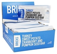 Bricks Meals & Snacks - Turkey Protein Bars Box Sweet Potato Cranberry and Pumpkin Seed - 12 Bars