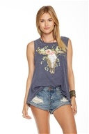 Cow Skull Flowers Flounce Tank Top Avalon - Extra Small