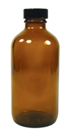 Amber Glass Round Bottle with Black Cap