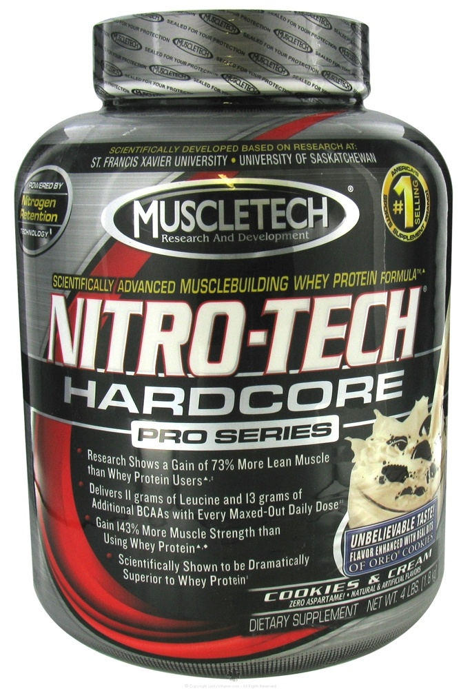 Buy muscletech products nitro tech hardcore pro series cookies and cream 4 lbs at - Nitro tech hardcore pro series ...