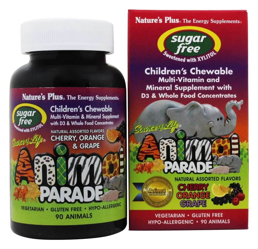 Buy Natures Plus Source Of Life Animal Parade Childrens Multi Calcium Vitamin And Mineral Assorted Cherry Orange Grape 90 Chewable Tablets At Luckyvitamin
