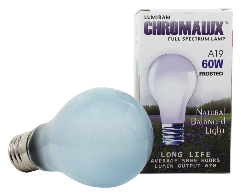 buy lumiram chromalux a19 60w frosted light bulb full. Black Bedroom Furniture Sets. Home Design Ideas