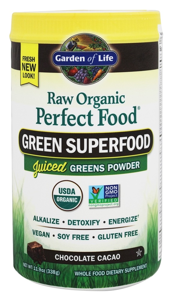 Buy Garden Of Life Perfect Food Raw Super Green Formula Chocolate Cacao 11 9 Oz At