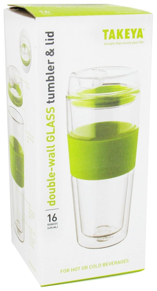 buy takeya usa double wall glass tumbler and lid with green silicone grip 16 oz at. Black Bedroom Furniture Sets. Home Design Ideas