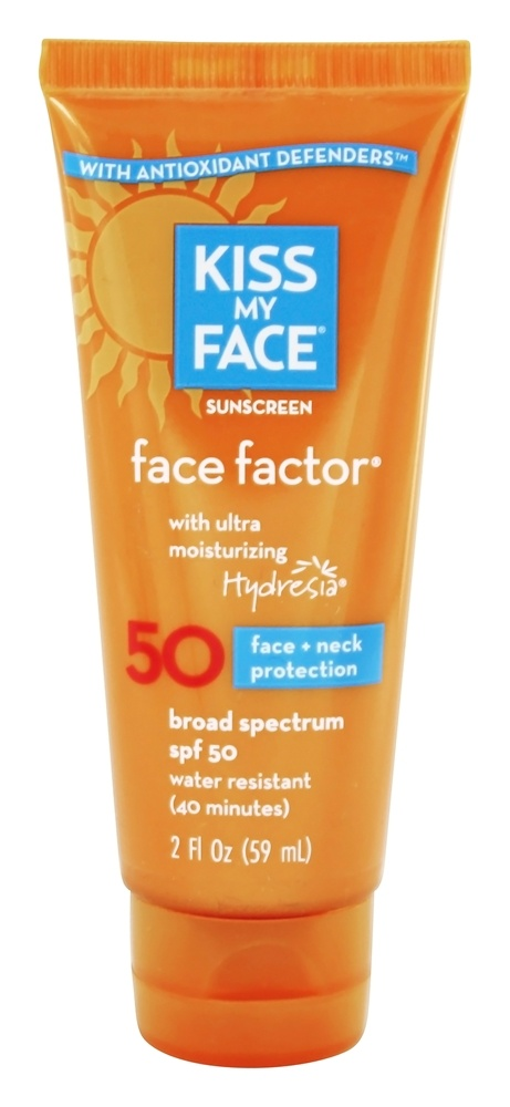 Apply Kiss My Face Sunscreen – Face Factor SPF 30 to your face, neck and décolleté at least 15 minutes before stepping out in the sun. Reapply after sweating or every two hours. Pros. This product works well for protecting normal to dry skin types. It does not contain irritating fragrance ingredients.