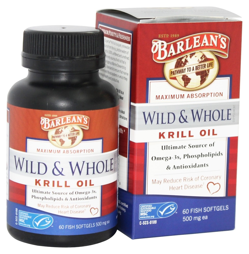 Buy barlean 39 s wild and whole krill oil 500 mg 60 fish for Krill or fish oil