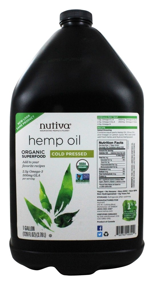 Buy Nutiva Organic Hemp Seed Oil 1 Gallon At
