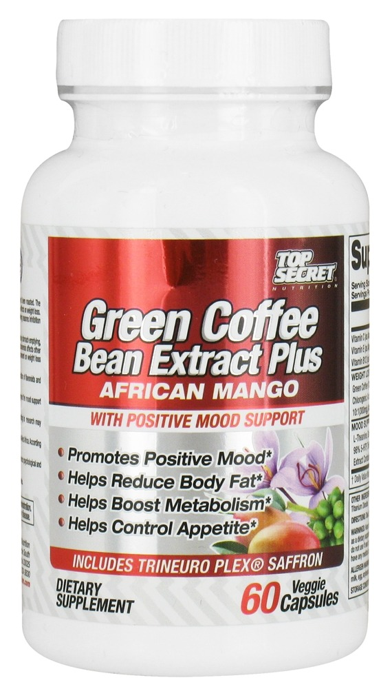 Buy Top Secret Nutrition - Green Coffee Bean Extract Plus African Mango - 60 Vegetarian Capsules at LuckyVitamin.com