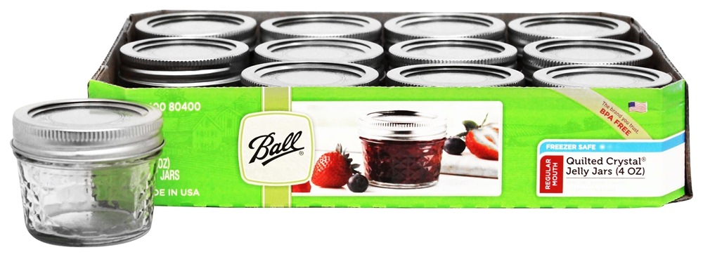 Ball Regular Mouth 4 Oz Quilted Crystal Jelly Mason Jars Freezer Safe 12 Count At Luckyvitamin
