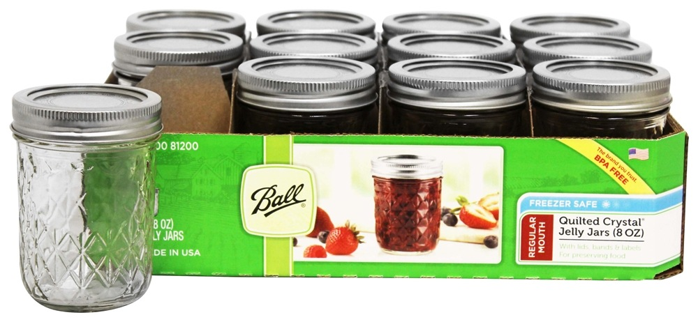 Ball Regular Mouth 8 Oz Quilted Crystal Jelly Mason Jars Freezer Safe 12 Count At Luckyvitamin