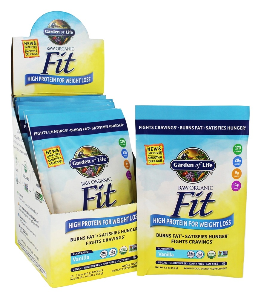 Buy garden of life raw organic fit high protein for weight loss real raw vanilla 10 packet s for Garden of life raw protein weight loss