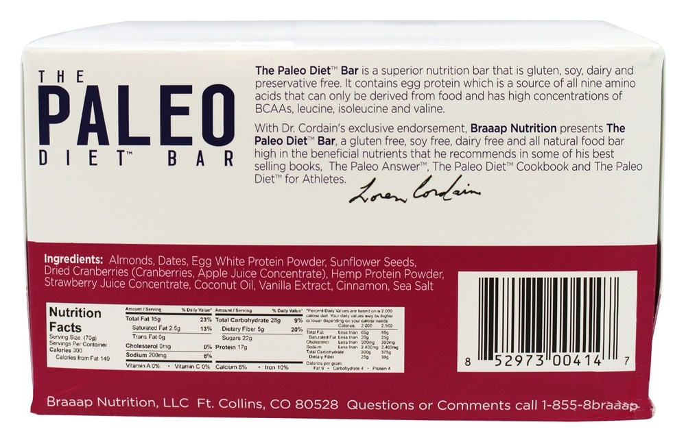 Buy The Paleo Diet Bar - Paleo Protein Bar Cranberry Almond - 12 Bars at LuckyVitamin.com