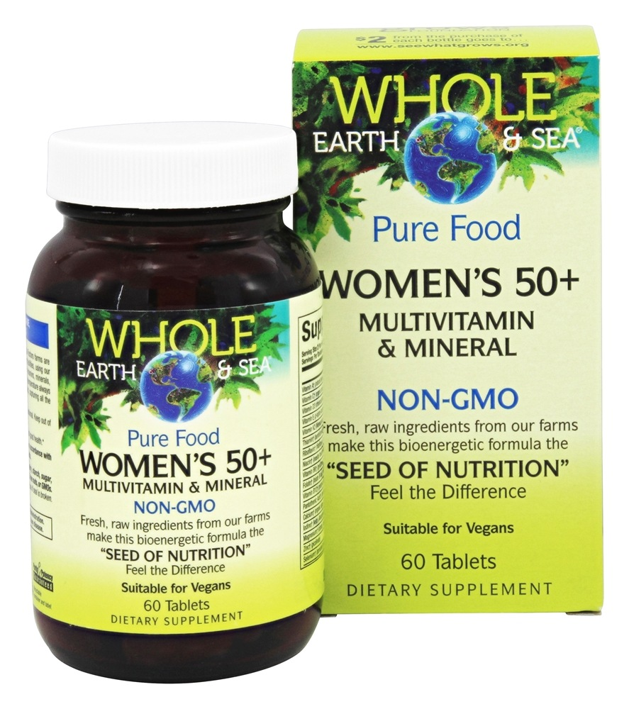 Pure Food Women's 50+ Multivitamin & Mineral - 60 Tablets by Whole Earth &  Sea