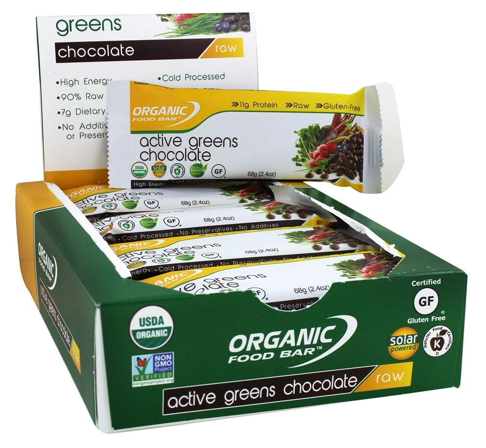 Buy organic food bar active greens chocolate 12 bars for Organic food bar