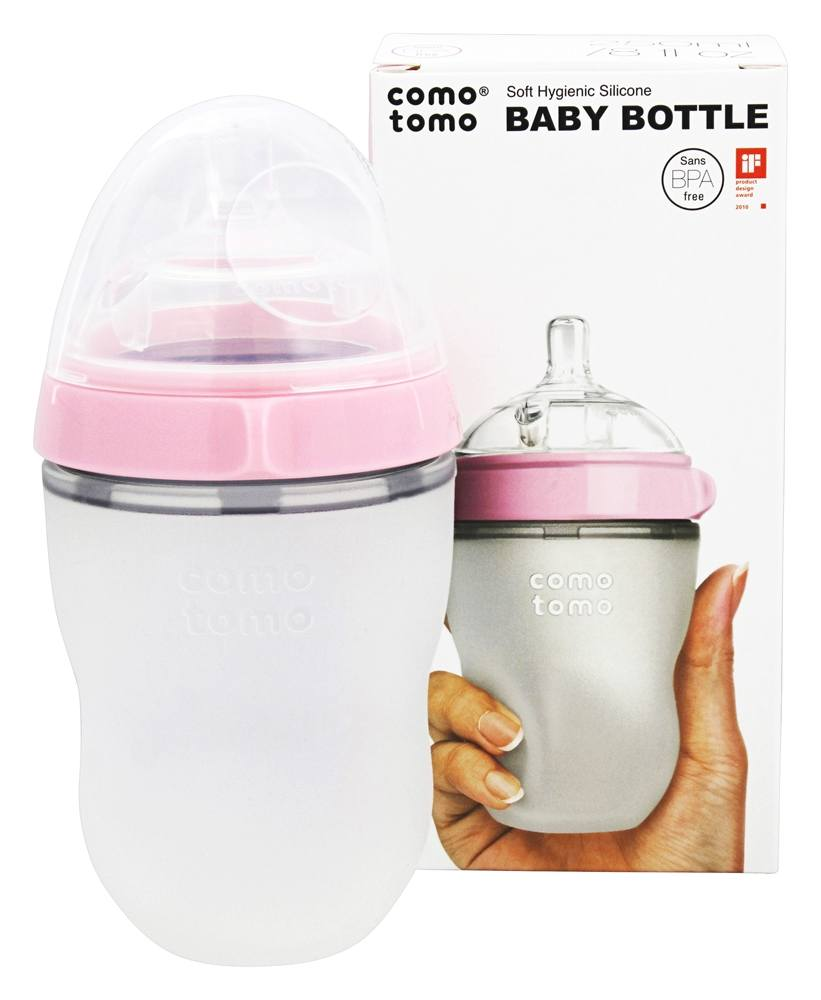 Buy Comotomo Soft Hygienic Silicone Baby Bottle Single Pack 3m 250 Ml Twin Green Pink 8 Oz At