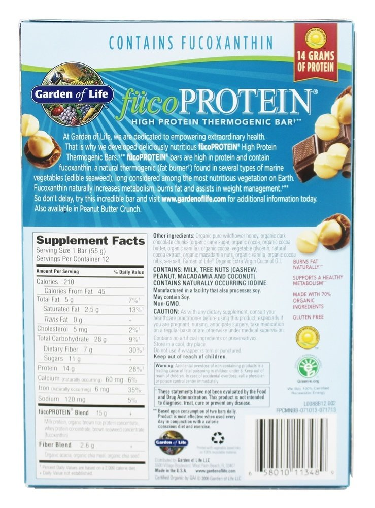 Buy Garden Of Life Fucoprotein High Protein Thermogenic Bars Box Chocolate With Macadamia Nuts