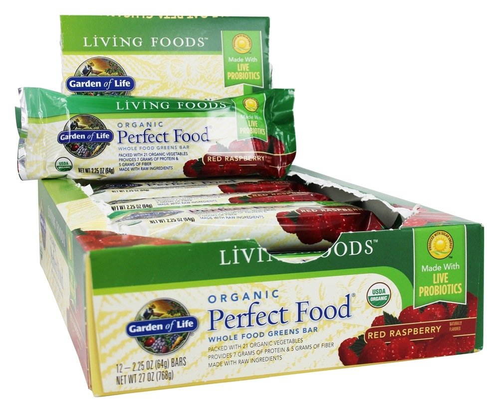Buy Garden Of Life Perfect Food Greens Bars Box Red Raspberry 12 Bars At