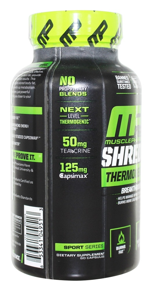 Buy Muscle Pharm Shred Sport Thermogenic Complex 60