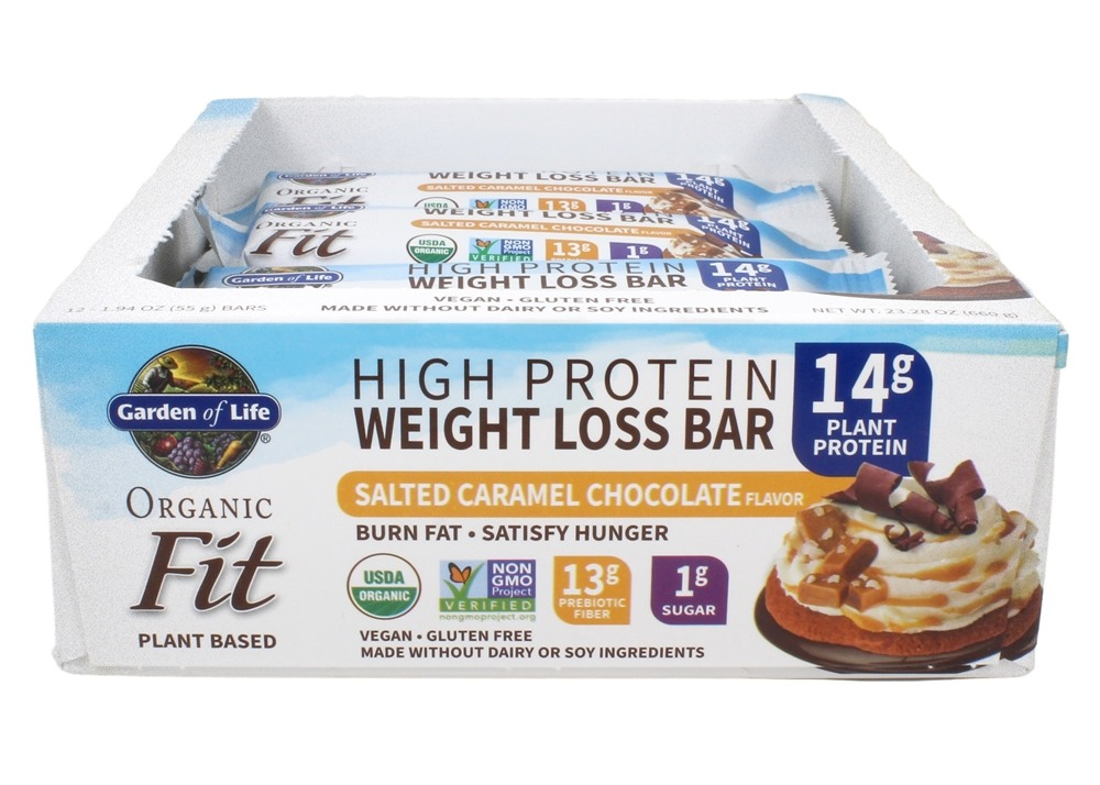 Buy Garden Of Life Organic Fit High Protein Weight Loss Bars Sea Salt Caramel 12 Bars At