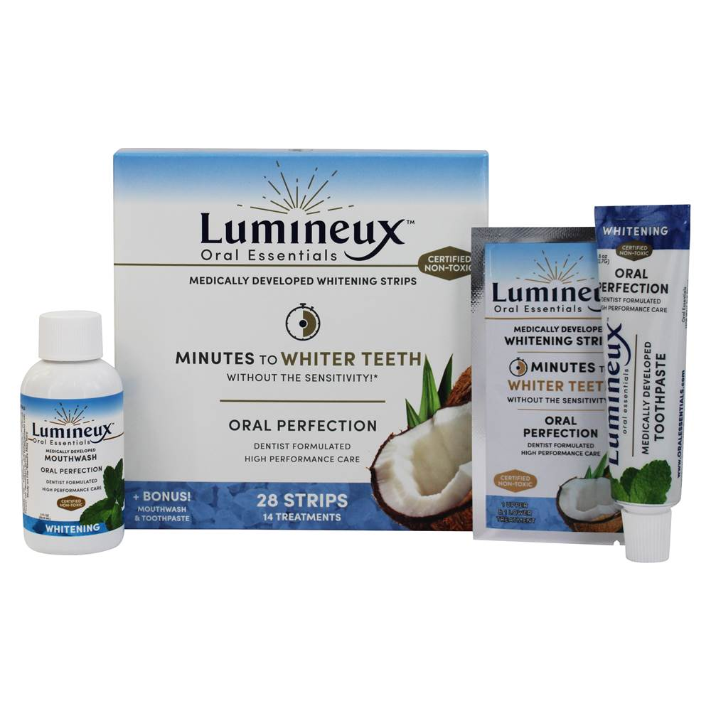 Buy Lumineux Oral Essentials Medically Developed Whitening Strips Bonus Mouthwash Toothpaste 14 Count At Luckyvitamin Com