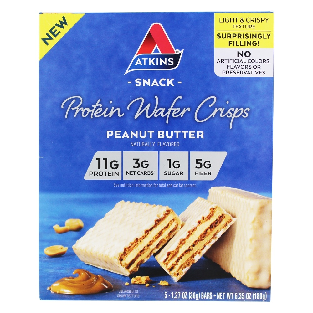 Buy Atkins - Protein Wafer Crisps Snack Peanut Butter - 5 ...