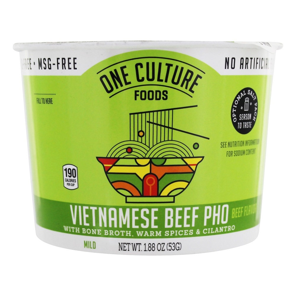 Vietnamese Beef Pho Bowl with Bone Broth, Warm Spices, and Cilantro Beef  Flavor - 1 88 oz One Culture Foods