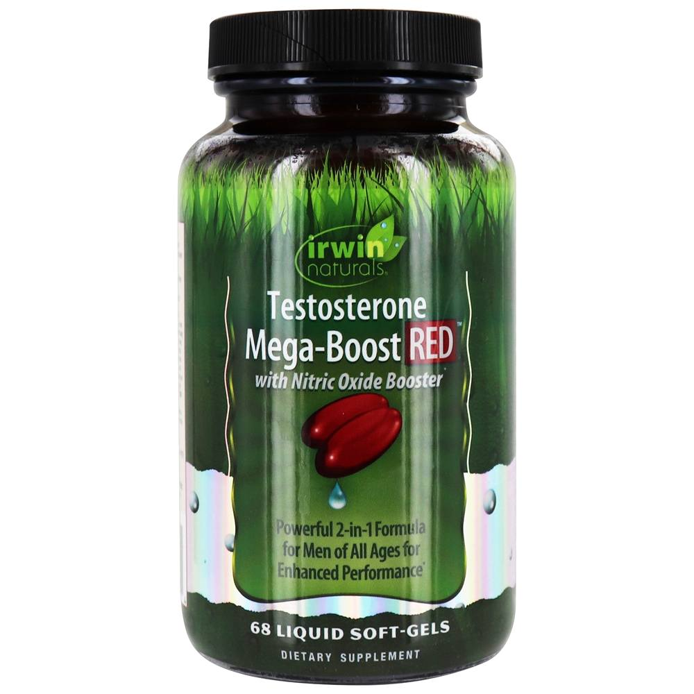 Buy Irwin Naturals - Testosterone Mega-Boost Red with Nitric Oxide Booster - 68 Liquid Softgels