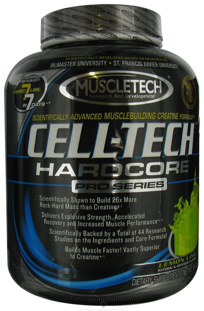 Calories in Cell-tech hardcore lemon lime by Muscletech