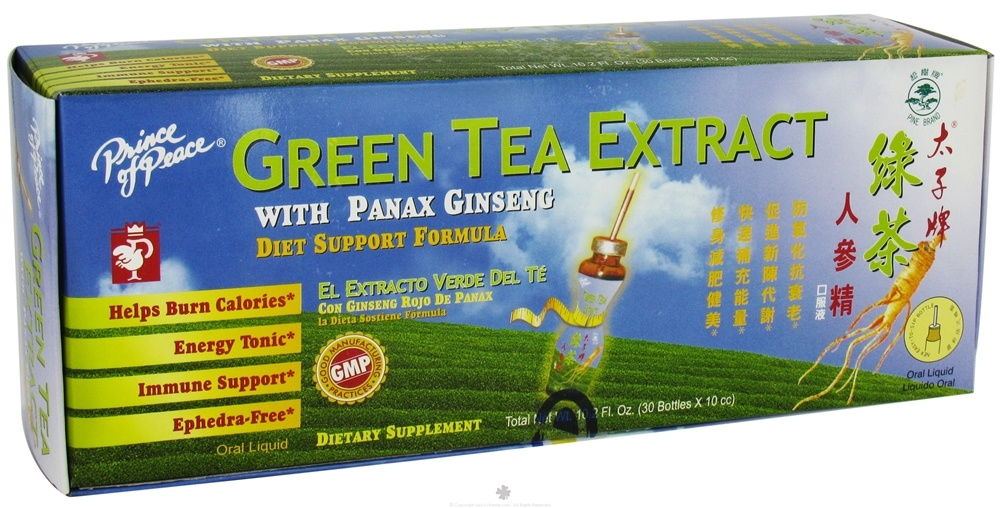 Buy Prince of Peace - Green Tea Extract With Panax Ginseng Diet Support Formula - 30 Vial(s) at ...