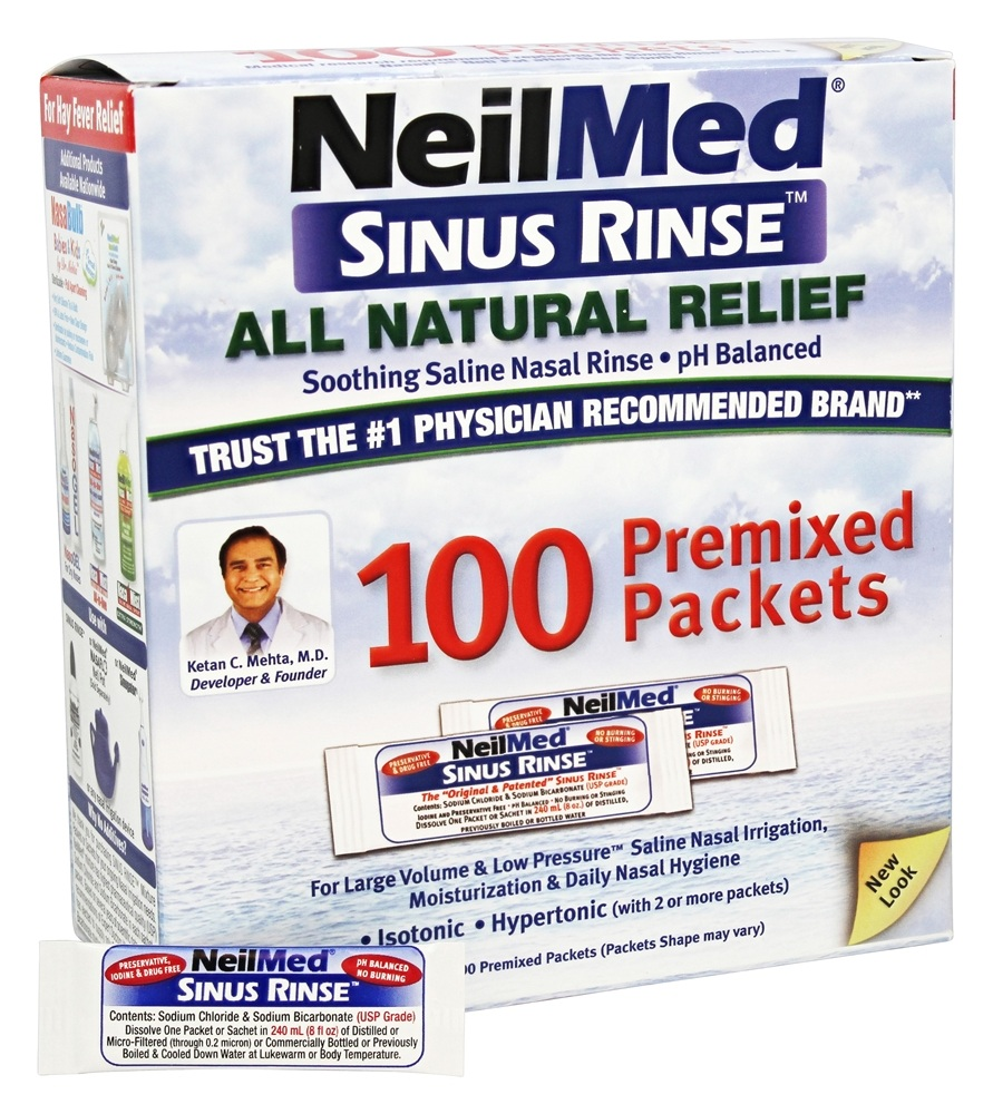 Buy NeilMed Pharmaceuticals - Sinus Rinse All Natural Relief - 100 Premixed Packets at LuckyVitamin.com