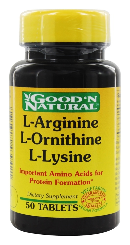 Buy Good 'N Natural - L-Arginine L-Ornithine L-Lysine - 50 ...