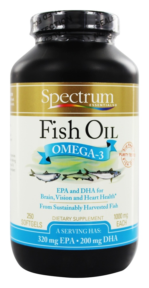 Buy spectrum essentials fish oil omega 3 1000 mg 250 for Fish oil 1000 mg
