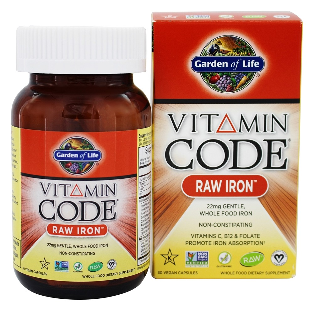Buy Garden Of Life Vitamin Code Raw Iron 22 Mg 30 Vegetarian Capsules At