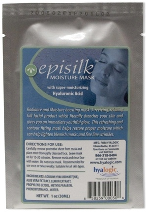DROPPED: Hyalogic - Episilk Moisture Mask with Super-Moisturizing Hyaluronic Acid - 1 oz. CLEARANCE PRICED