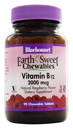 Bluebonnet Nutrition - Earth Sweet Chewable Vitamin B12 Natural Raspberry Flavor 2000 mcg. - 90 Chewable Tablets