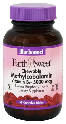 Bluebonnet Nutrition - Earth Sweet Chewable Methylcobalamin Vitamin B12 Natural Raspberry Flavor 5000 mcg. - 60 Chewable Tablets