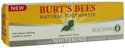 DROPPED: Burt's Bees - Natural Toothpaste Whitening Fluoride Peppermint - 4 oz.