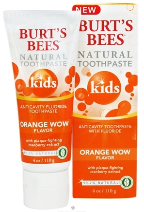 DROPPED: Burt's Bees - Natural Toothpaste Kids Anticavity Fluoride Orange Wow - 4 oz. CLEARANCE PRICED