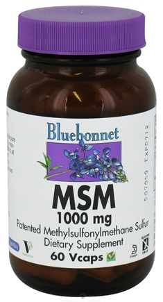 DROPPED: Bluebonnet Nutrition - MSM Patented Methylsulfonylmethane Sulfur 1000 mg. - 60 Vegetarian Capsules CLEARANCE PRICED