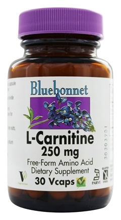 Bluebonnet Nutrition - L-Carnitine 250 mg. - 30 Vegetarian Capsules